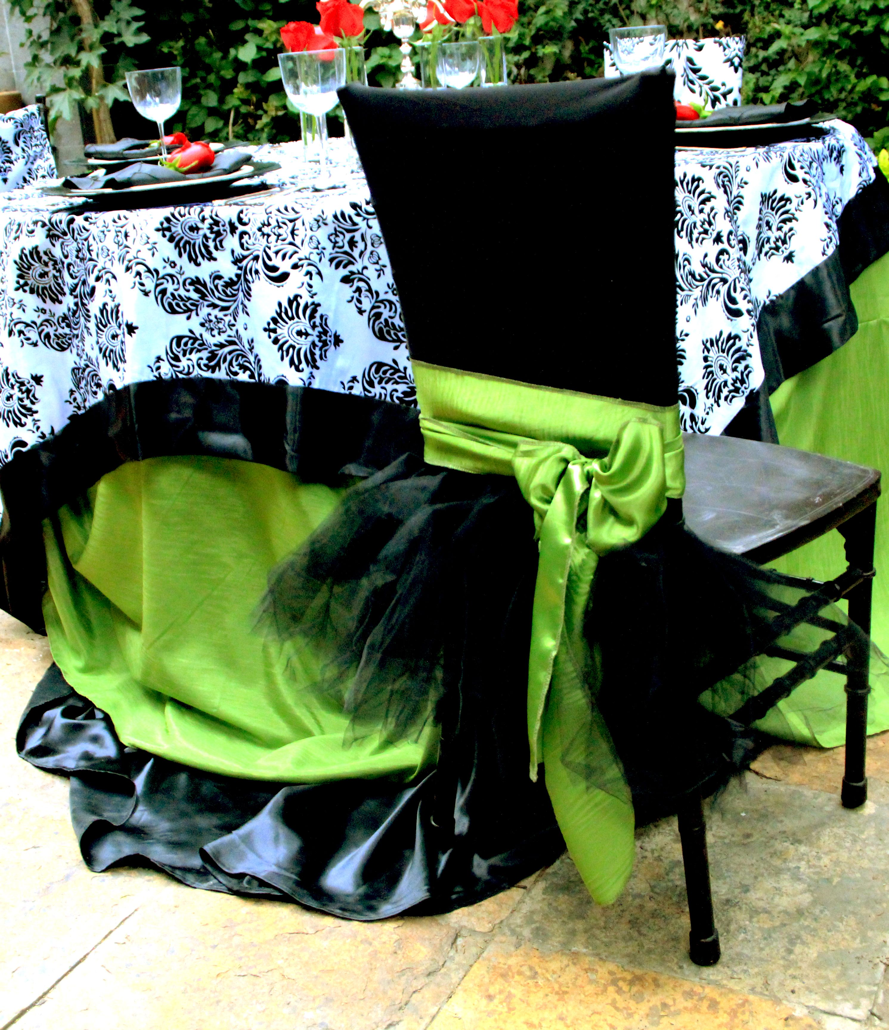Black And White Damask Overlay On Tablecloth Layers In Black And Green,  Black Tutu