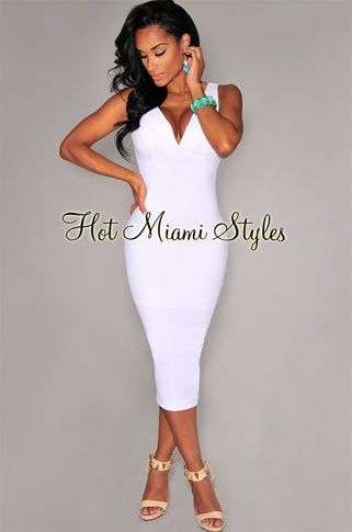 f0c5f2545a White Textured Plunging V Neck Sleeveless Midi Dress Womens clothing  clothes hot miami styles hotmiamistyles hotmiamistyles