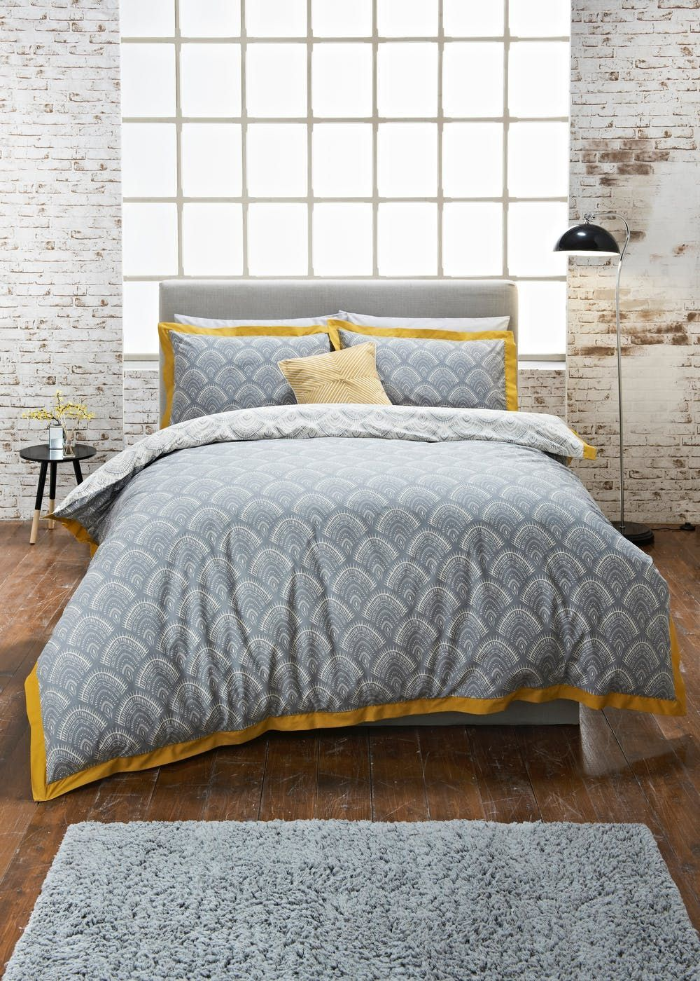 Our Stylish Fan Printed Duvet Cover In Grey Features A