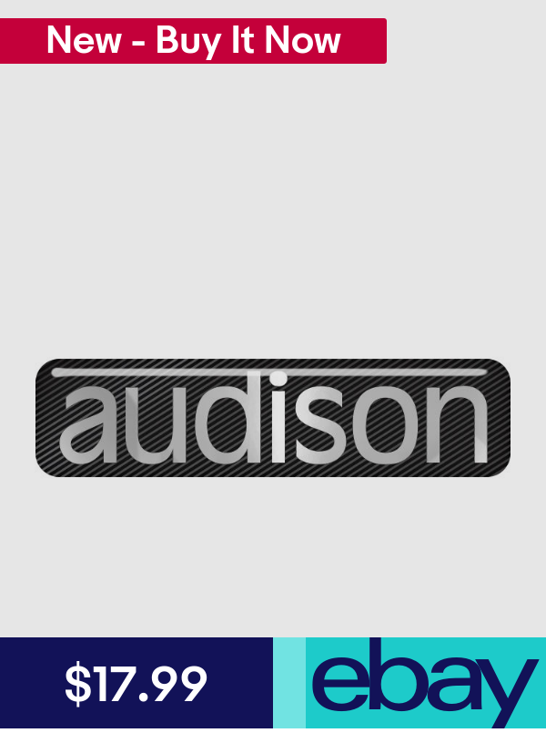 "Audison 2/""x0.5/"" Chrome Domed Case Badge Sticker Logo"
