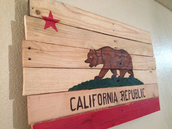 California Republic Bear Flag Recycled Pallet Wood Wall Art Hand Painted Acrylic Pallet Art Recycled Pallet California Republic