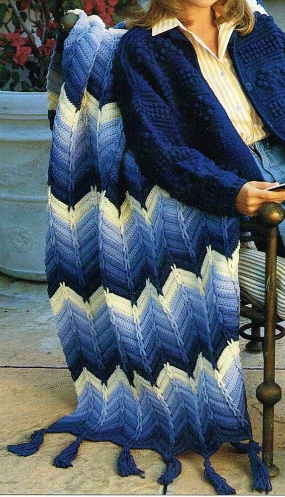 Blue Ripple Afghan Crochet Pattern Blanket Throw Instructions