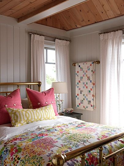 sarah's summer house - guest bedroom - vintage quilt love. beautiful colors! that ceiling!