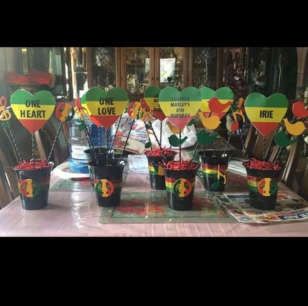 One Love One Heart Reggae Party Hand Made Centerpieces