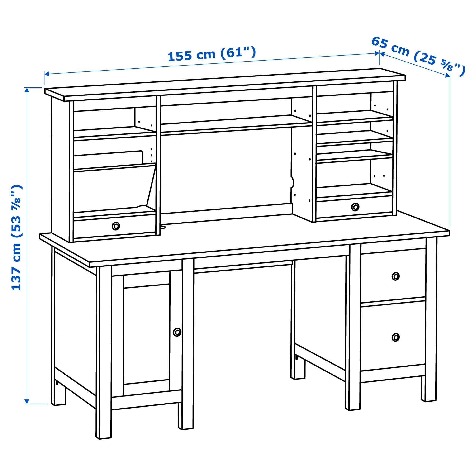 Hemnes Desk With Add On Unit White Stain 61x53 7 8 Ikea In 2020 Hemnes Ikea Hemnes Ikea Wood