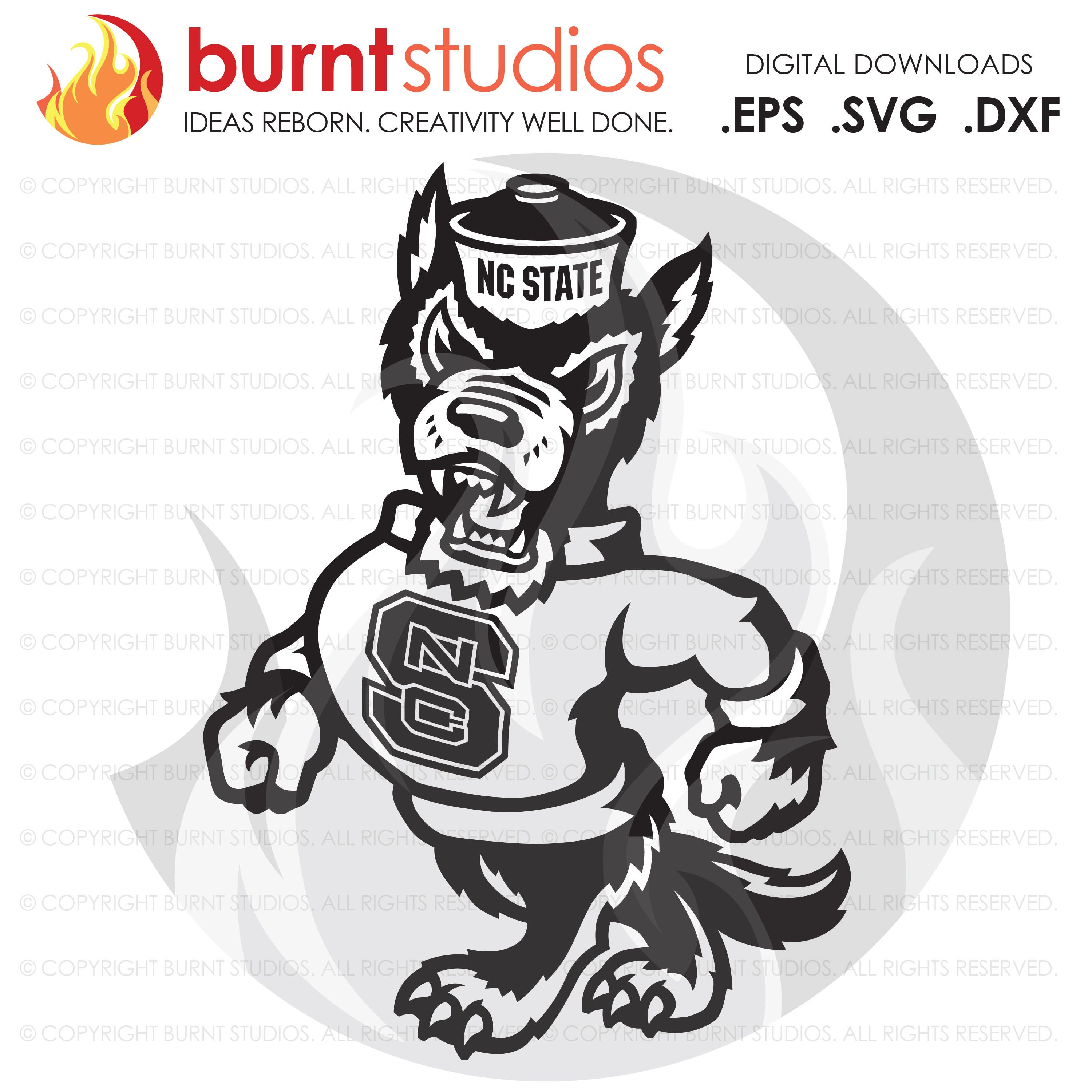 digital svg cutting file ncsu north carolina state wolfpack logo wolf only college basketball football raleigh svg png dxf eps file burnt studios