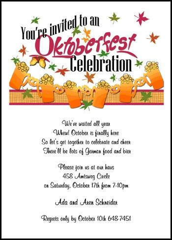 Lots of party planners host a Oktoberfest celebration similar to - get together invitation template