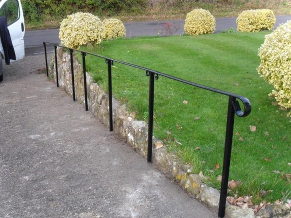 metal handrail outdoor steps front yard landscaping