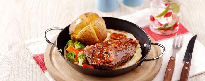 Hot Plate Telur T Bone Saus Jamur Resep Makanan Jamur Resep