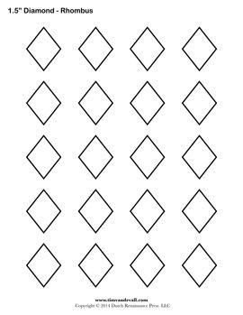 1.5-Inch Diamond / Rhombus. Printable Diamond Outline