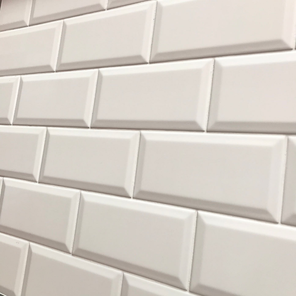 Matt White Biselado Brillo Is A Metro Bevel Edge Brick Ceramic Matt Wall Tile By Salcamar Vilar Size 10 X 20 Cm Or 4 X 8 Wall Tiles Bevel Bathroom Wall Tile