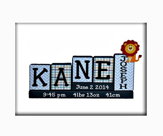 decorative nursery letter block personalized baby name birth stats wooden sign unique baby gift