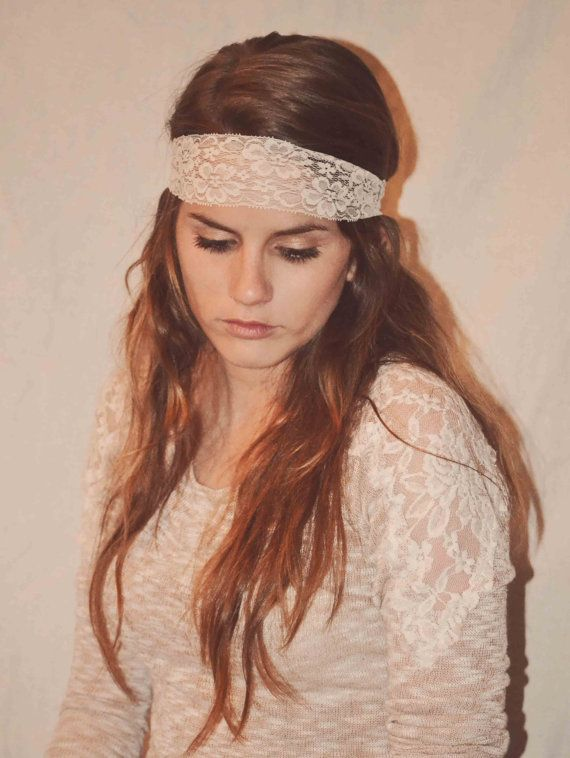 Ivory Stretchy lace Headband hippie style headband bohemian headband hair  accessories 758565087a6