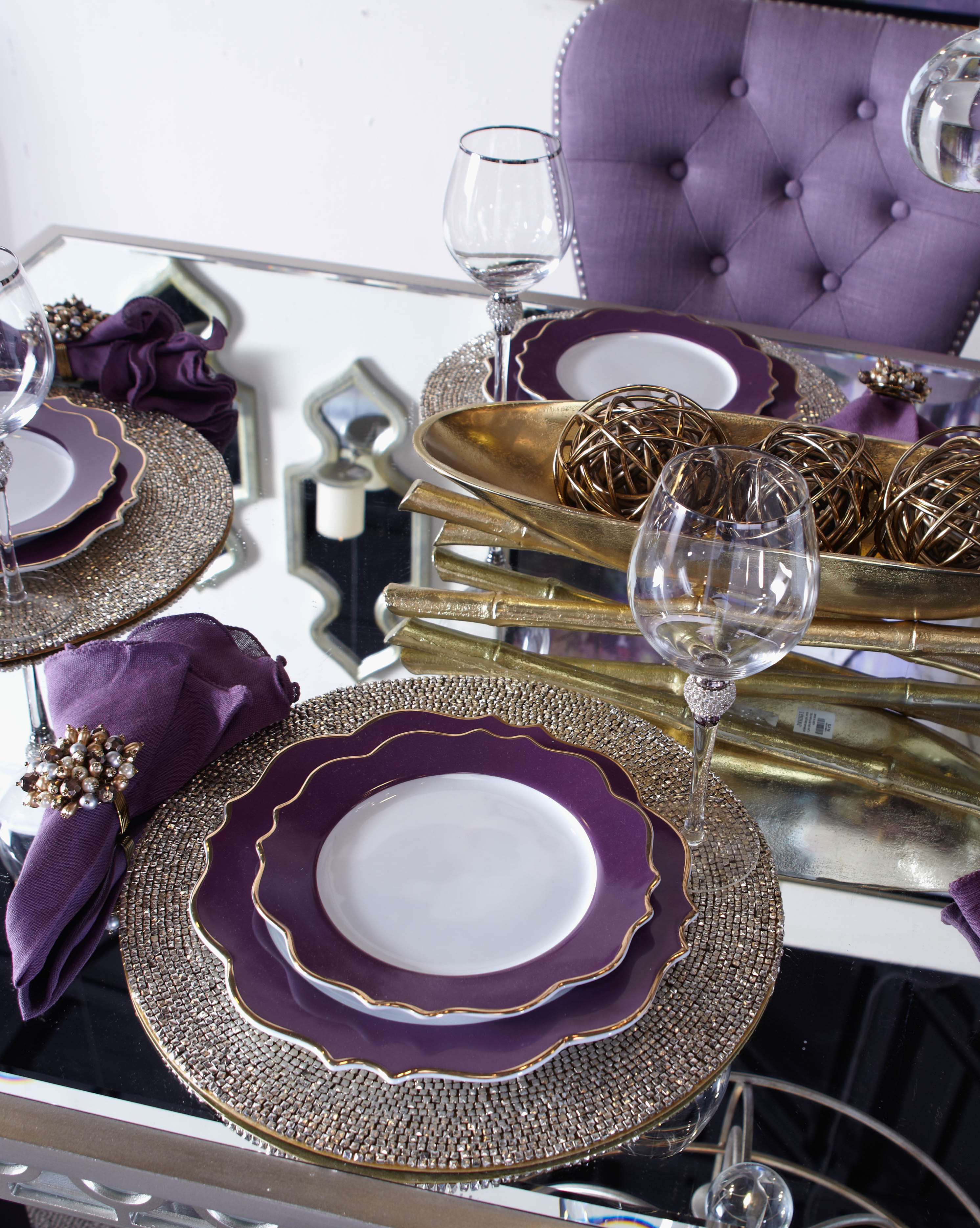 Stylish Home Decor Chic Furniture At Affordable Prices Dining Room Table Decor Purple Dining Room Dining Table Decor
