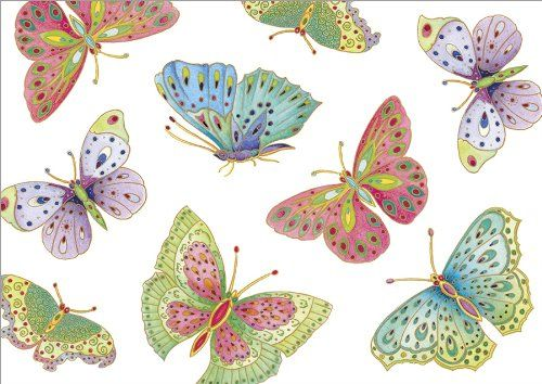Caspari Entertaining Jeweled Butterflies Assorted Blank Wallet Notecards, 8-Pack Caspari