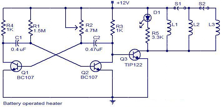 Battery operated heater circuit diagram Electrical