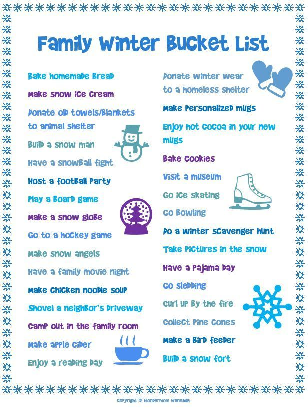 This Free Printable Family Winter Bucket List Is Full Of Fun Cold Weather Activities For