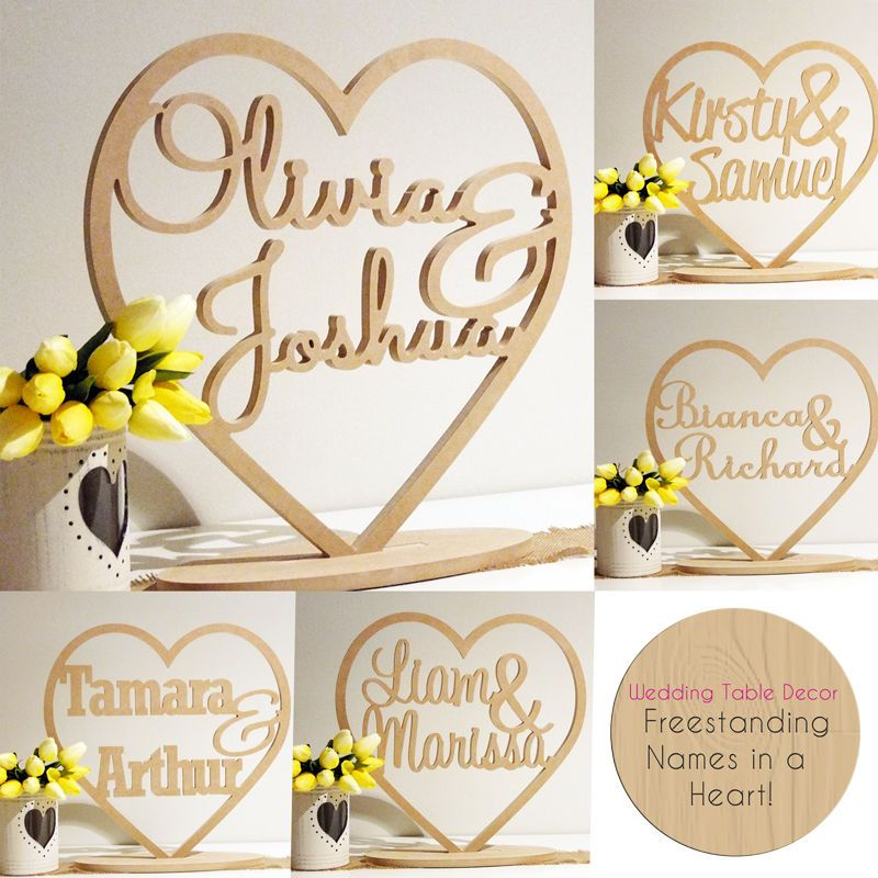 Heart with custom names freestanding wedding wooden names signs heart with custom names freestanding wedding wooden names signs words decor junglespirit Gallery