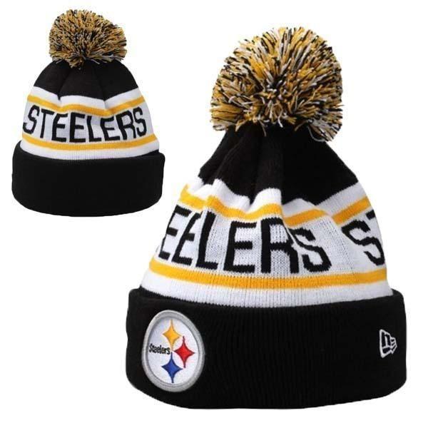 d0900c848 Mens   Womens Pittsburgh Steelers New Era NFL Biggest Fan Redux Cuffed Knit  Pom Pom Beanie Hat - Black   White