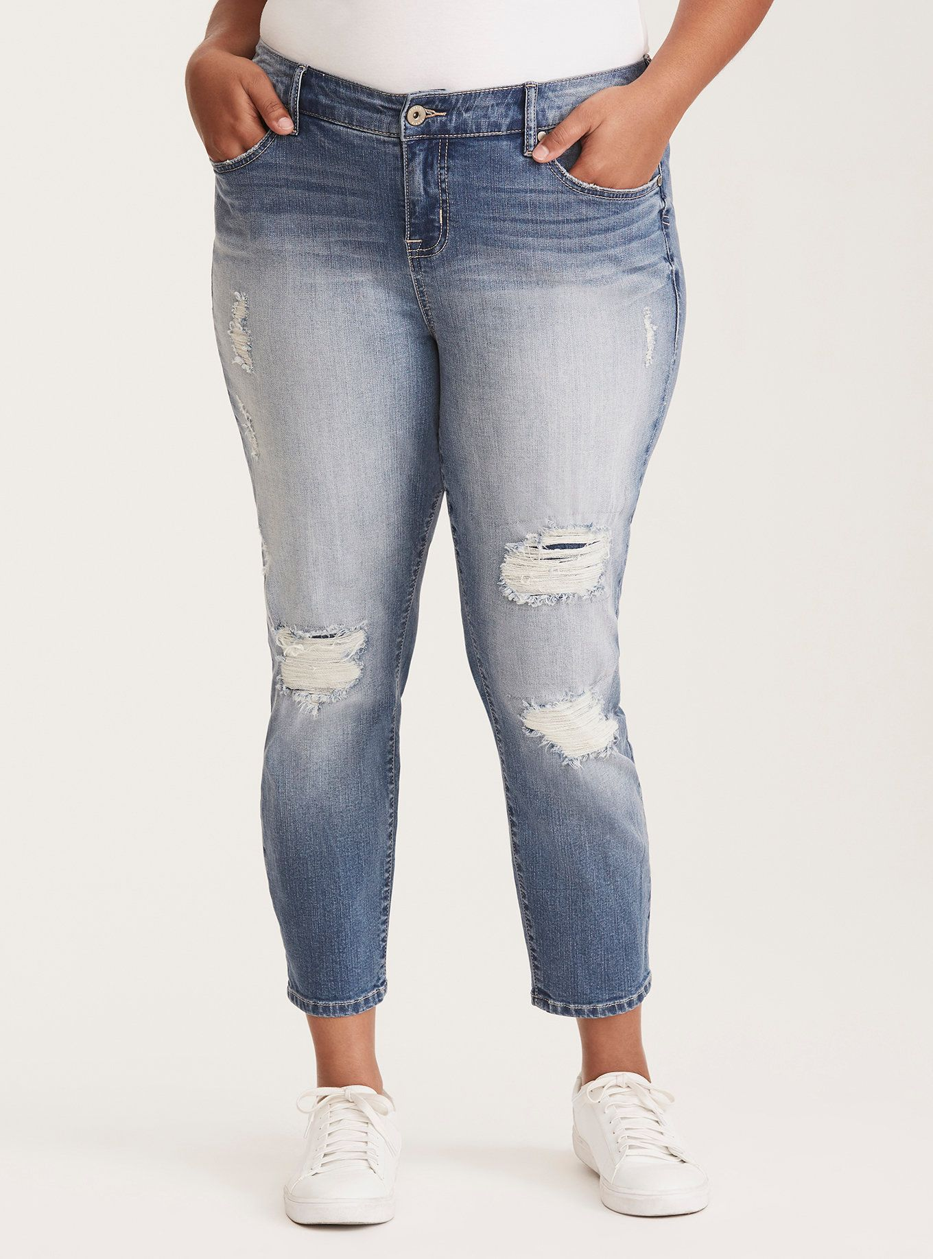bd96e8c679d Plus Size Torrid Girlfriend Jeans - Light Wash with Ripped Destruction