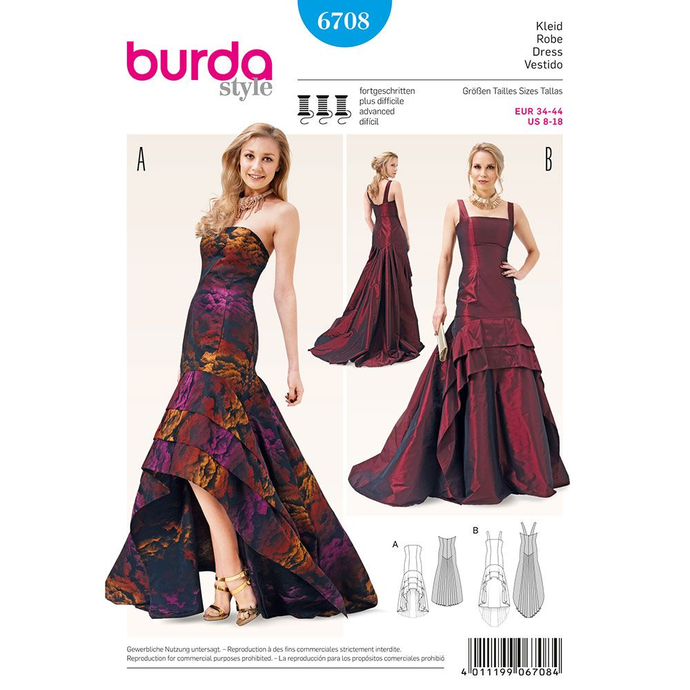 Misses Evening Gown Burda Sewing Pattern No. 6708. Size 8-18 ...