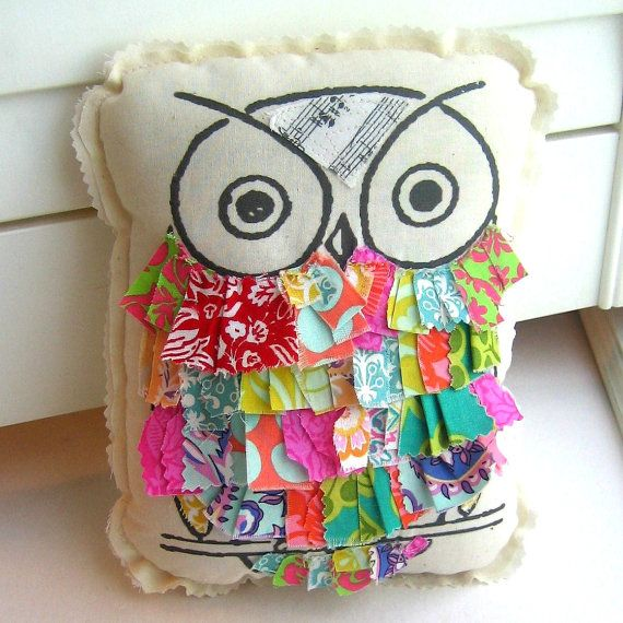 Owl pillow stuffed owl fabric scrap owl pillow by tracyBdesigns http://www.etsy.com/listing/108921440/owl-pillow-stuffed-owl-fabric-scrap-owl