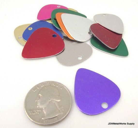 10 Multi Colored Anodized Aluminum Guitar Pick Rainbow Drop 20 Gauge Aluminum Tag Stamping Blank Stamp Guitar Guitar Picks