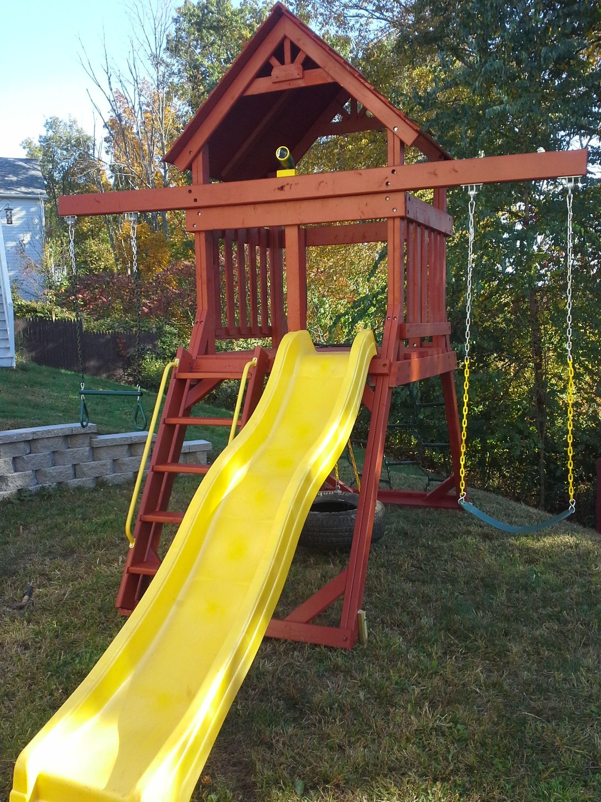 Custom made space saver swing set. | Backyard swing sets