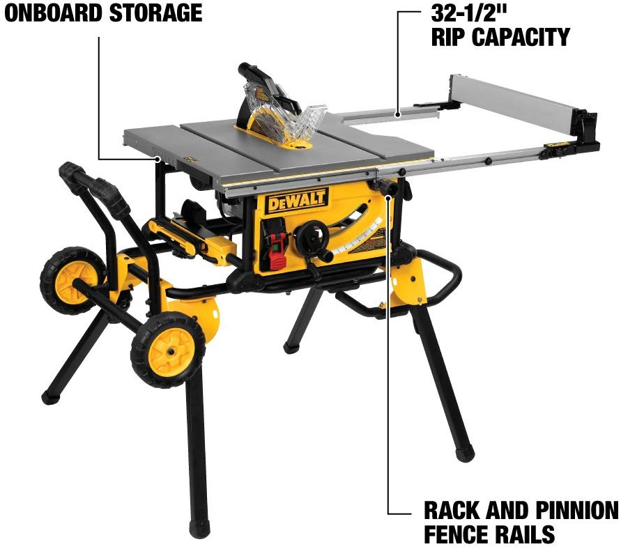 The Dewalt Dwe7491rs 10 Inch Jobsite Table Saw With 32 1 2 Inch 82 5cm Rip Capacity And A Rolling Stand Feature Jobsite Table Saw Table Saw Table Saw Reviews