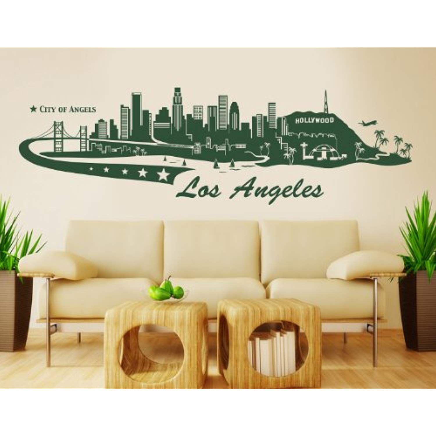 Los Angeles City Skyline Wall Decal By Style Wallstickersmurals Los Angeles Skyline Wall Decals Home Decor