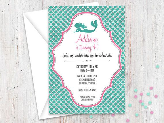 Printable Personalized Mermaid Invitations The Little Party Invite 5x7 Pool Invites Custom Birthday