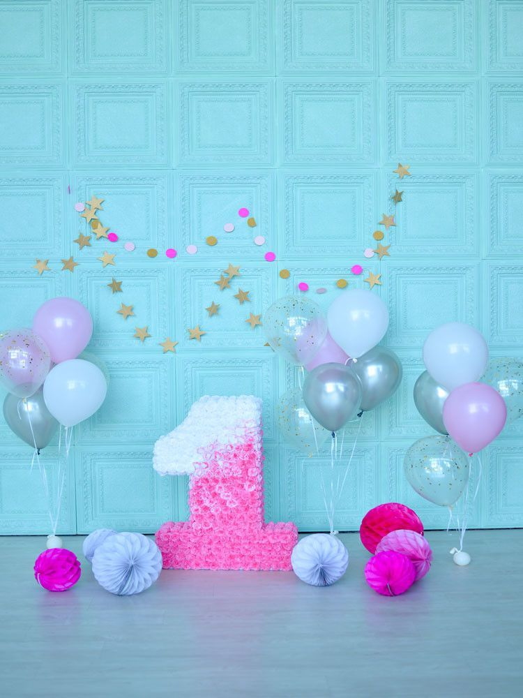 Birthday Party Background Balloons Backdrop Blue Backdrop J04973