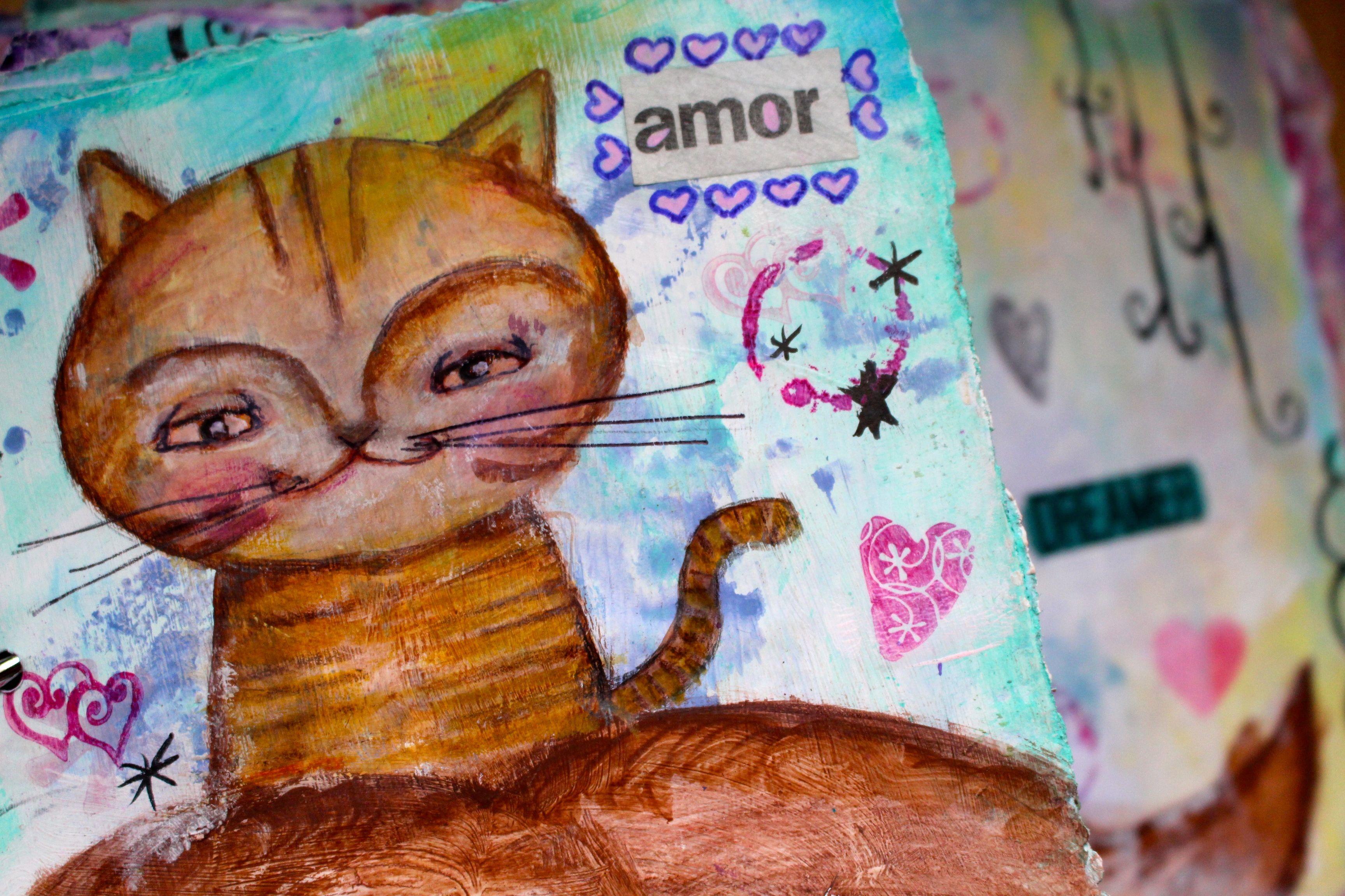 mixmedia, mixedmedia, artjournal, art, mixmediaart, mixedmediaart, details, detalles, cat, gato, gatito, kitty