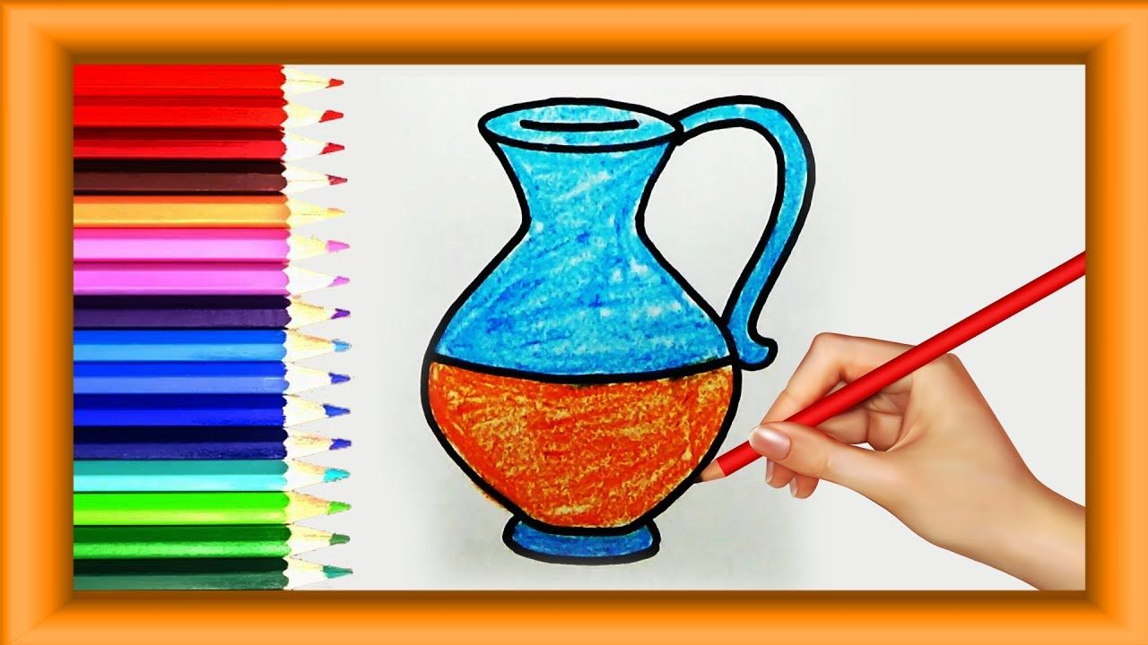 Step By Step How To Draw Jug For Kids Simple Coloring Pages Preschool Easy Coloring Pages Easy Drawings Coloring Pages
