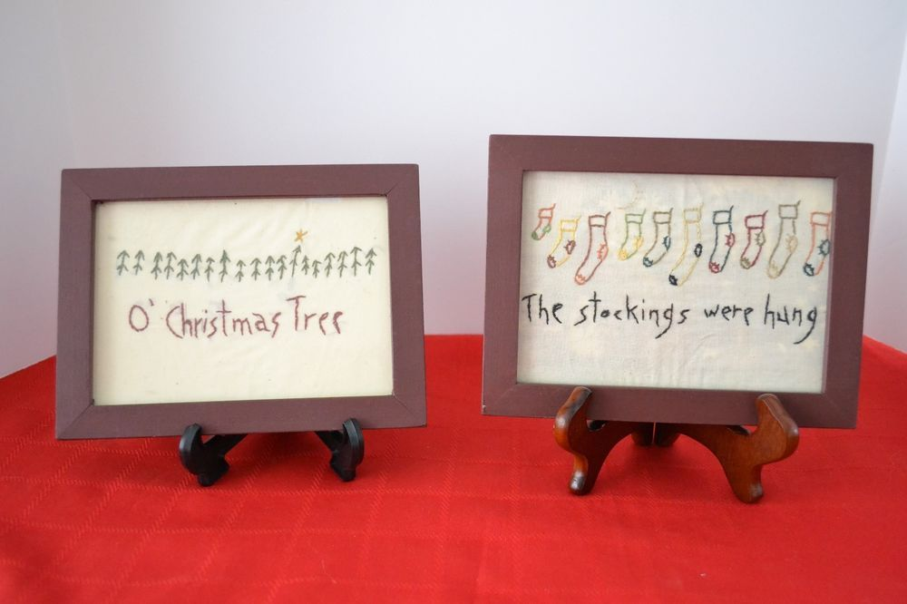 "Primative  PAIR OF FRAMED CHRISTMAS EMBROIDERY - WOOD FRAMES  8"" x 6"""