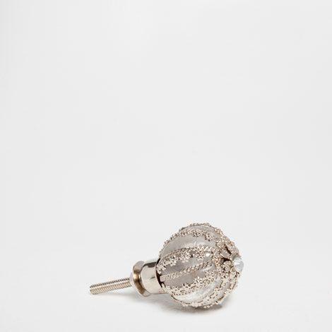 Glass And Metal Knob Set Of