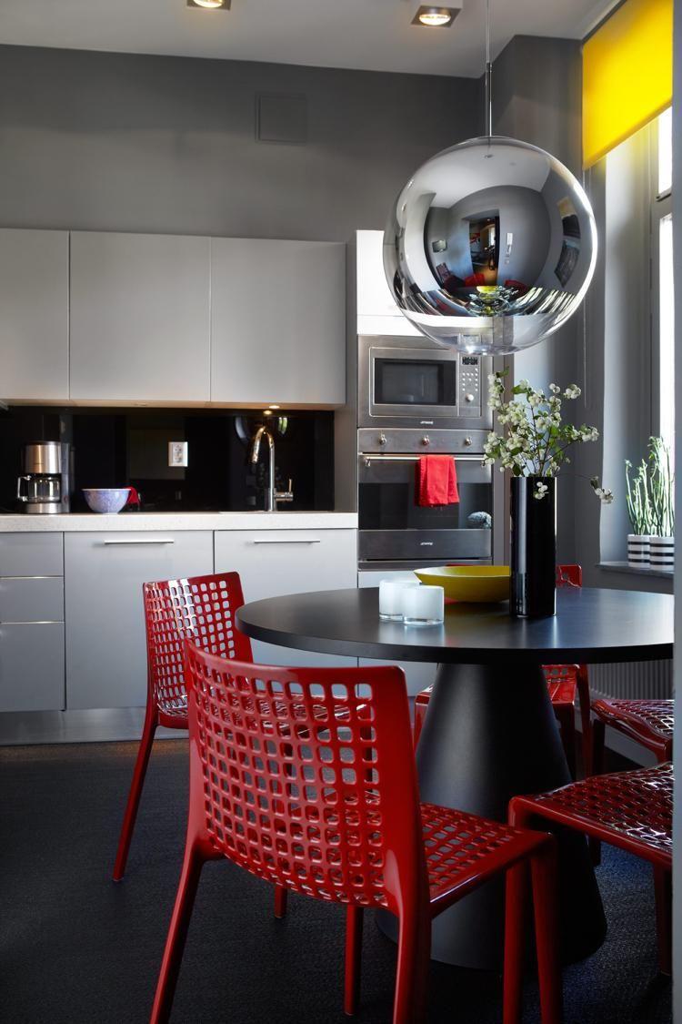 cuisine rouge et grise peinture grise