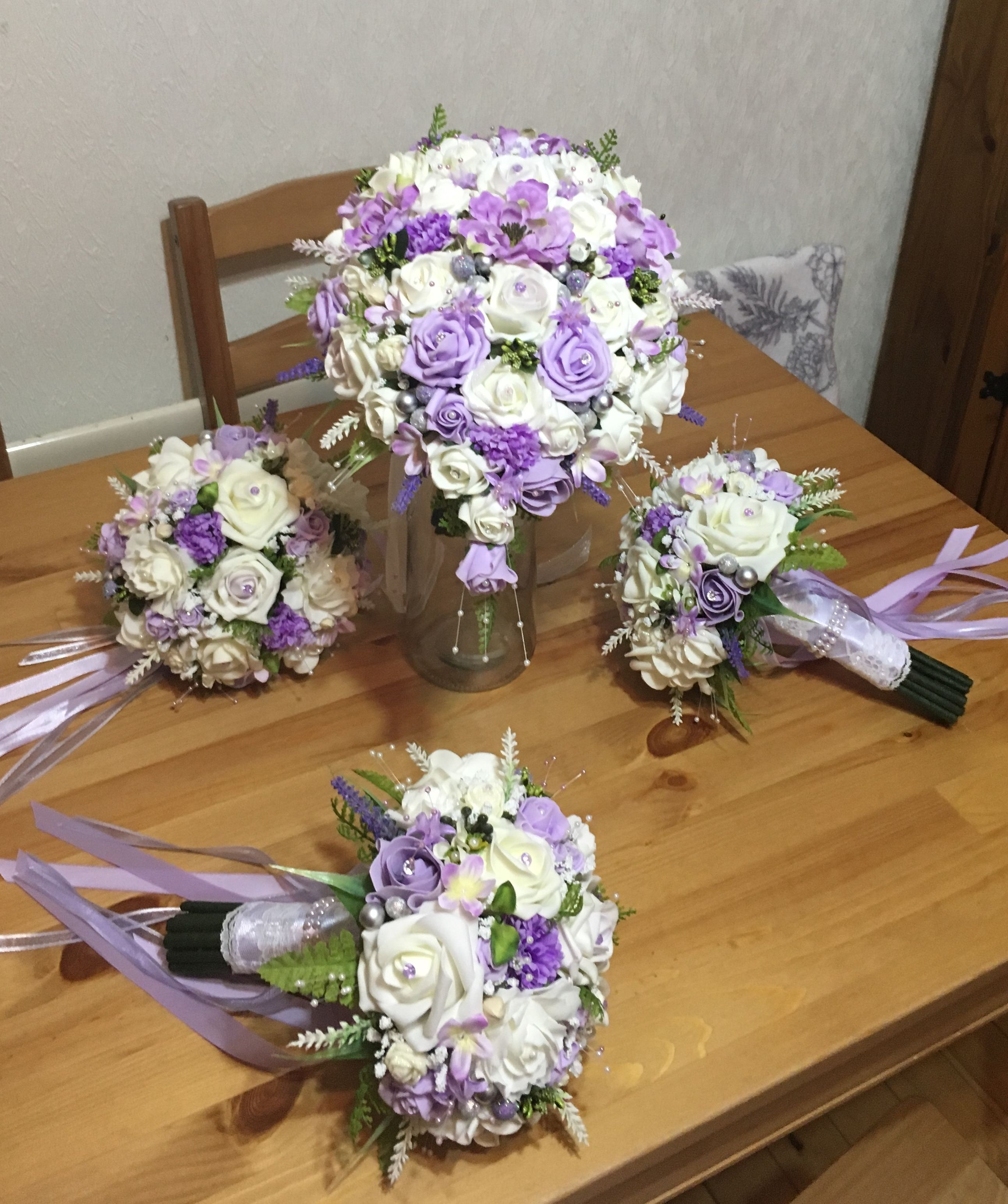 Lilac And Ivory Teardrop Bridal Bouquet And Bridesmaids Bouquets