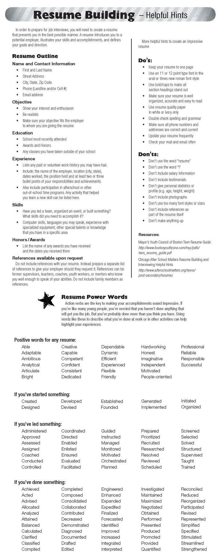 resume building words Job resume, Job interview tips