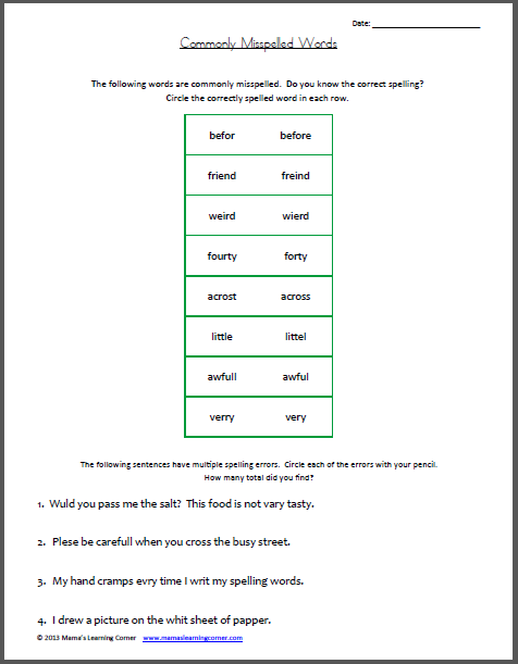 Commonly Misspelled Words Worksheet | Mamas Learning Corner