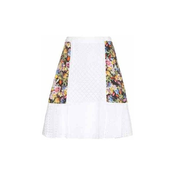 Mary Katrantzou Cotton Broderie Anglaise Skirt ($1,310) ❤ liked on Polyvore featuring skirts, white cotton skirt, mary katrantzou, cotton skirt and white skirt