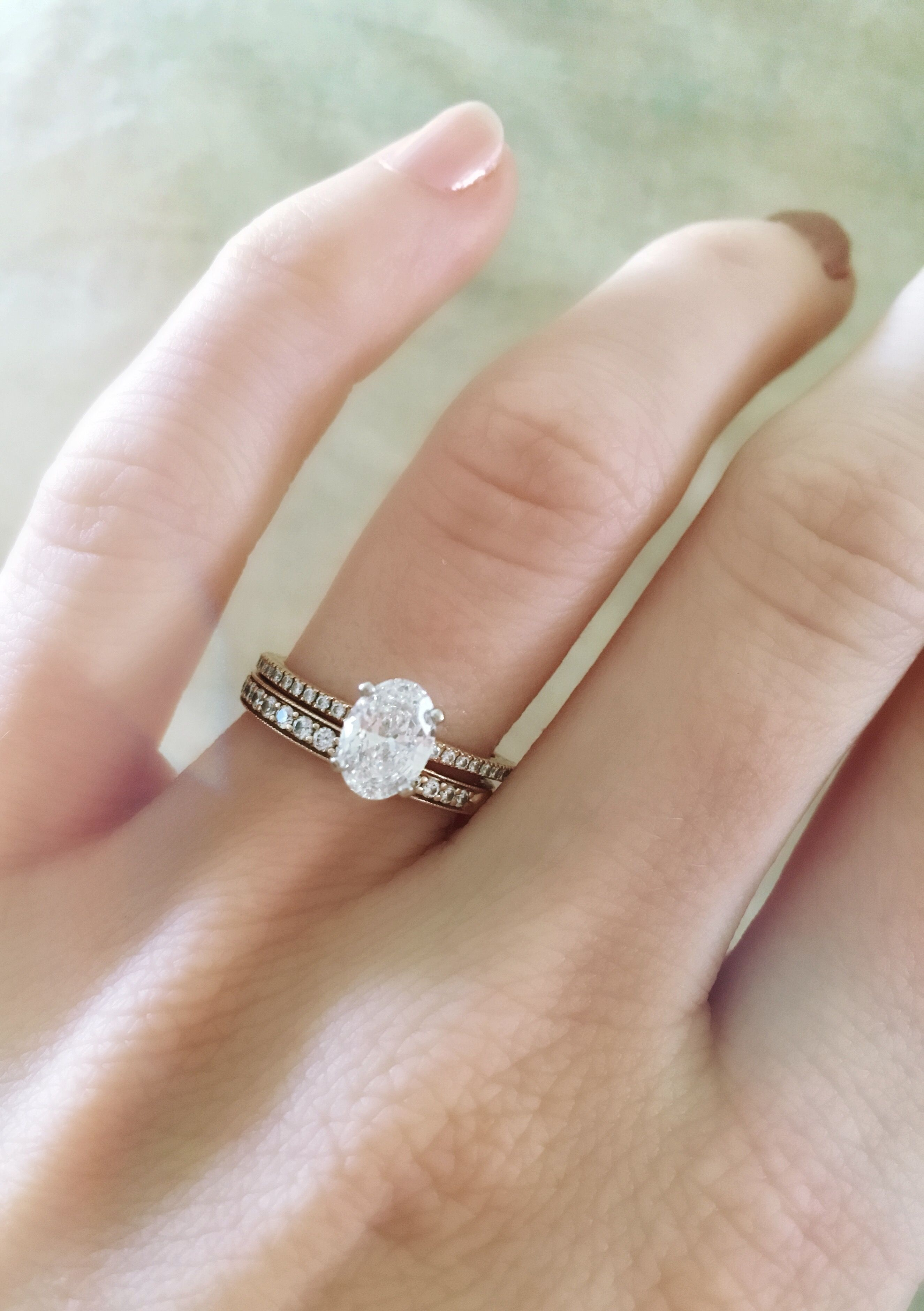 Dainty Rose Gold Oval Stacked Wedding Band Engagement Ring