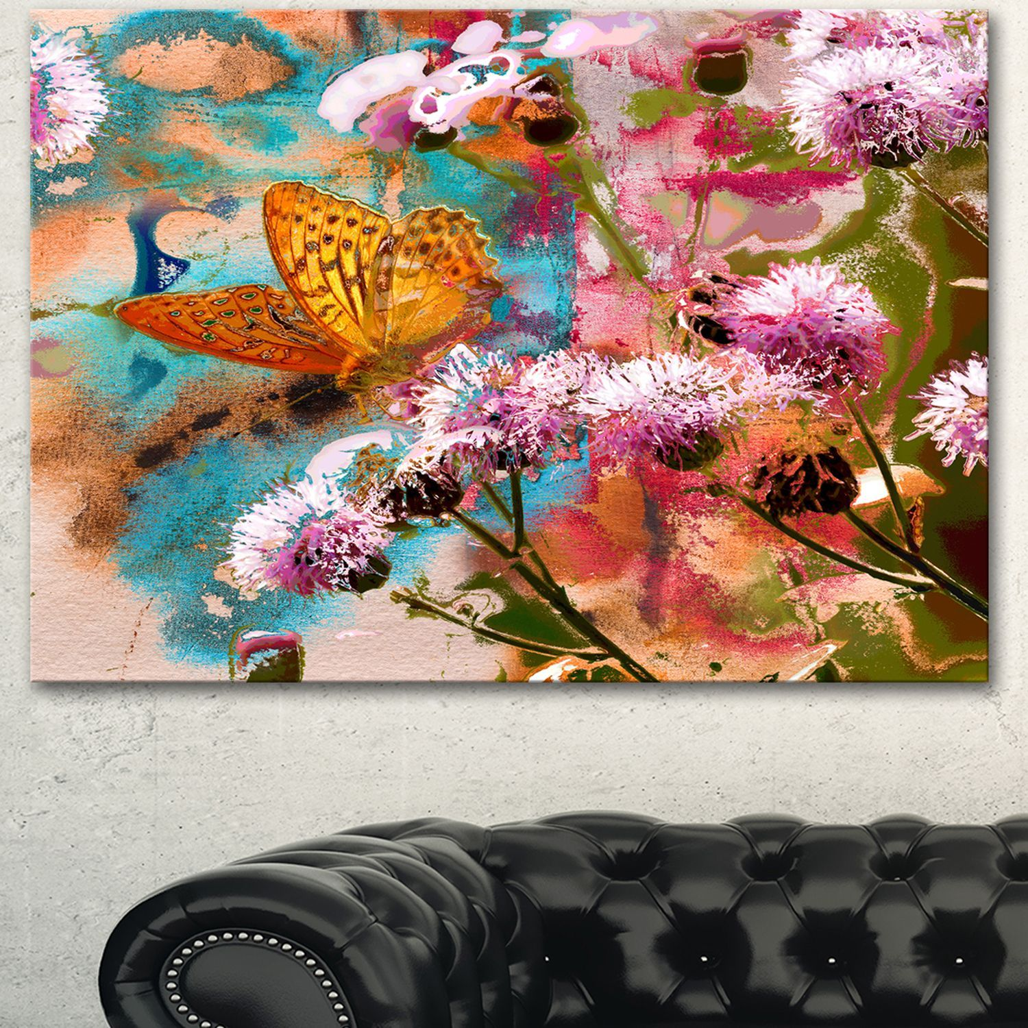DESIGN ART Designart 'Yellow Butterfly on Thistle Flowers' Floral Canvas Artwork