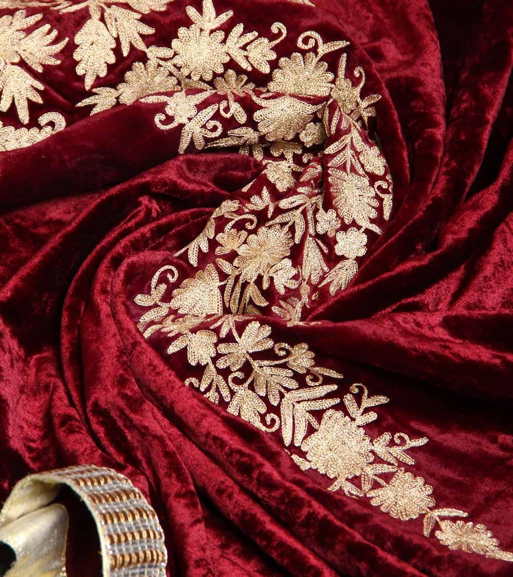 Wine Golden Suede Velvet Dupatta With Tilla Work Great Comet Of 1812 Arcanum The Great Comet