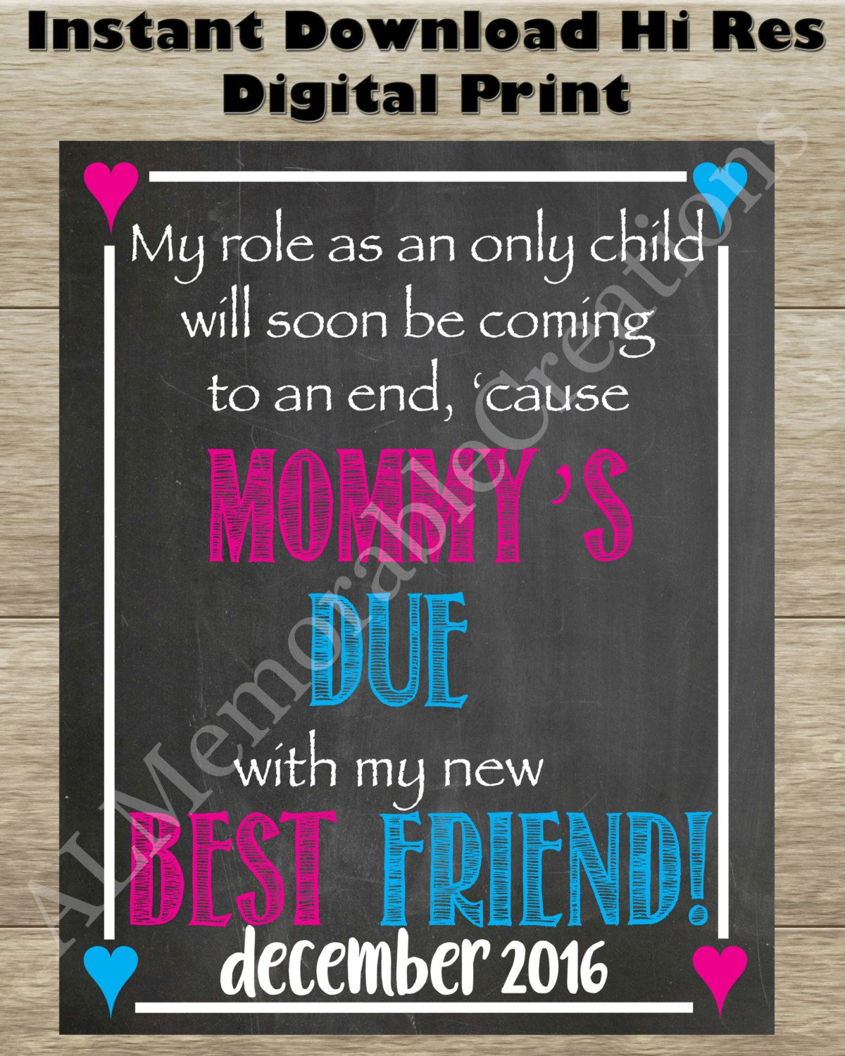 Pregnancy Announcement Photo PropMommys Due New Best Friend – Expecting Baby Announcement