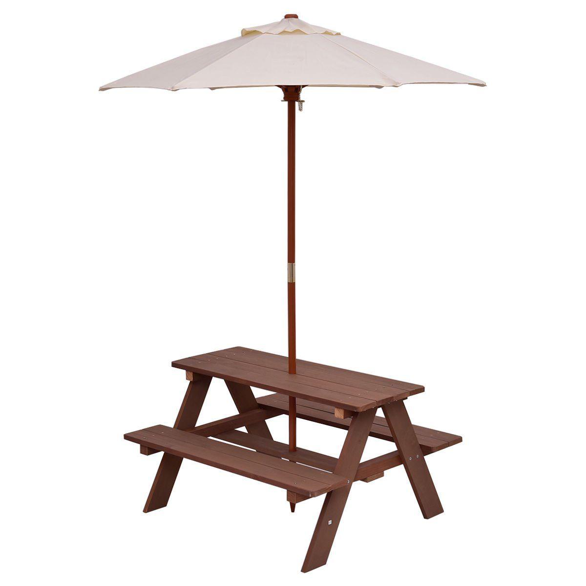 Costzon Kids Picnic Table Bench Set 4 Seat W Folding Umbrella