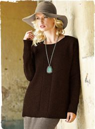 Our favorite bohemian pullover, now in a textural cableknit, with casual drop shoulders and rolled-edge neckline. Knit of kitten-soft, woolen-spun royal alpaca. (too elegant and I love the hat)