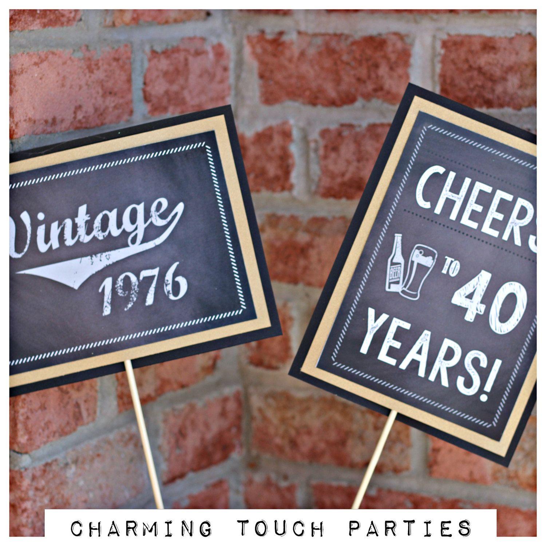 Chalkboard 40th Birthday centerpiece Set of 2 Chalkboard and