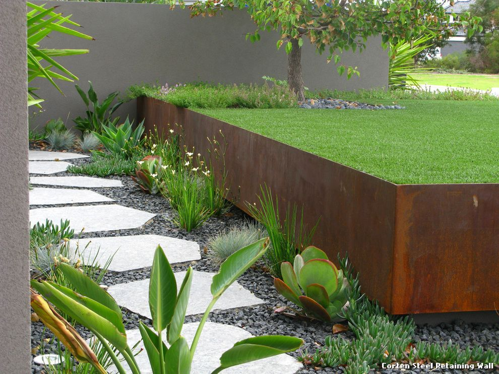 Corten Steel Retaining Wall By Mosscreek Exterior Home Interior Ideas Hash Landscaping Retaining Walls Steel Retaining Wall Retaining Wall