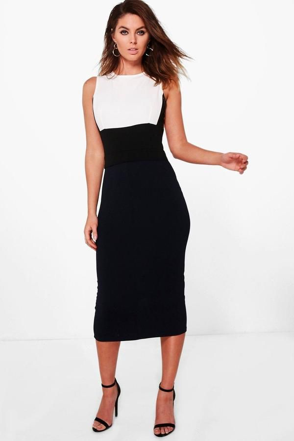 92ecffcd69deb Ava Structured Colour Block Formal Midi Dress | Products | Pinterest ...